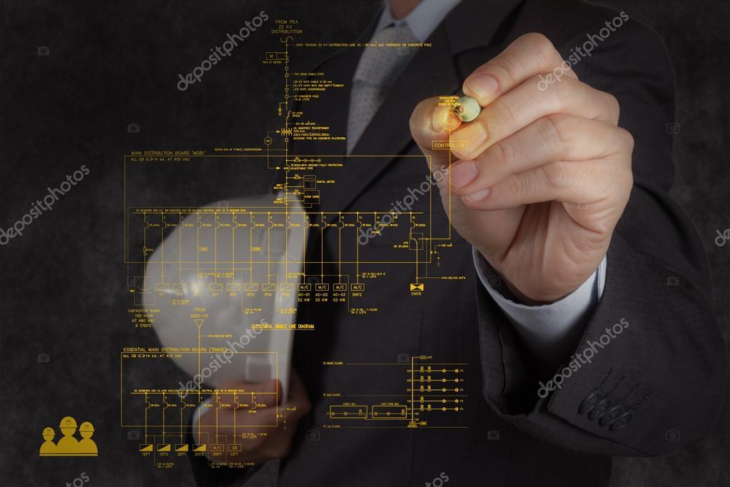 Ingenieur zeichnet eine elektronische single Line und Feueralarm ...