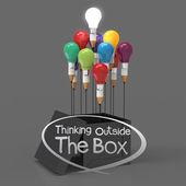 Fényképek rajz ötlet ceruza és izzó koncepció kívül a doboz, cr