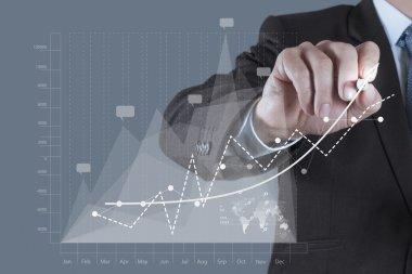Businessman hand draws business success chart concept on virtual screen stock vector
