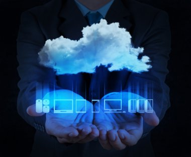 Businessman hand showing about cloud network idea concept stock vector