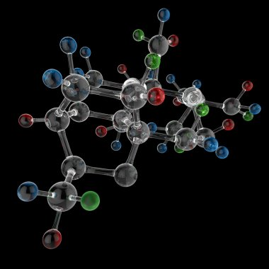 Molecule 3d on black background stock vector