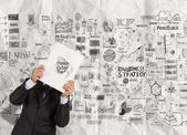 Fotografie businessman hand show black cover book of success business