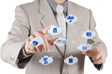 Businessman hand working with a Cloud Computing diagram on the new computer interface as concept stock vector