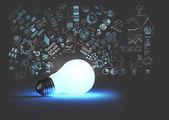 Glühbirne 3d auf Geschäftsstrategie Hintergrund als Konzept