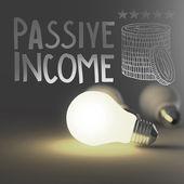 Glühbirne 3d und handgezeichnete passives Einkommen als Konzept