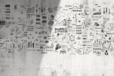 business concept and strategey on texture wall background as con