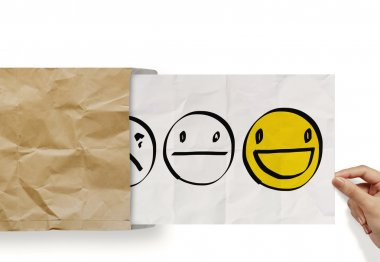 hand pull crumpled paper with customer service evaluation icon