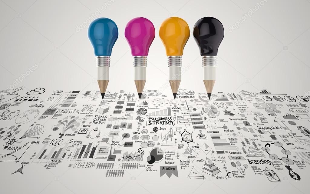 creative design business as pencil lightbulb 3d as business desi