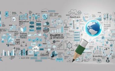 creative design business as pencil lightbulb world 3d as busines