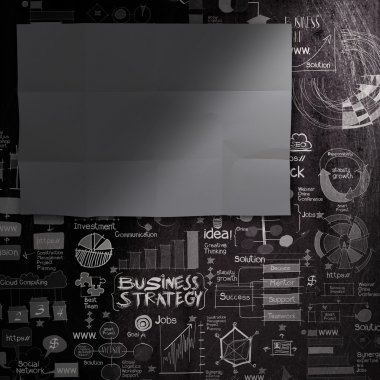 blank dark sheet paperon hand drawn business strategy background