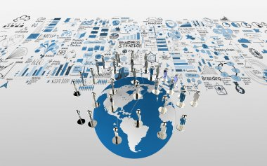 social network human 3d on the world map and hand drawn business
