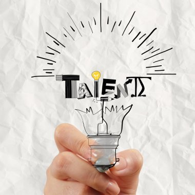 hand drawing light bulb and TALENT word design as concept