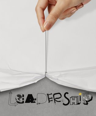 business hand pull rope open wrinkled paper show LEADERSHIP desi