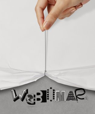 business hand pull rope open wrinkled paper show WEBINAR design