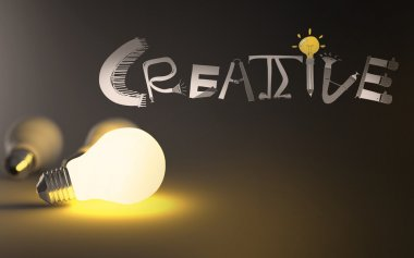 light bulb 3d and hand drawn graphic design word CREATIVE  as co