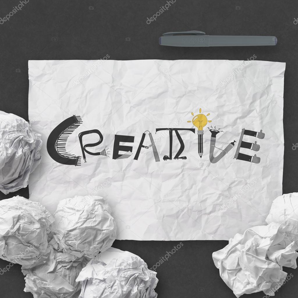 Hand gezeichnete Design Wort kreative zerknittertes Papier mit als ...