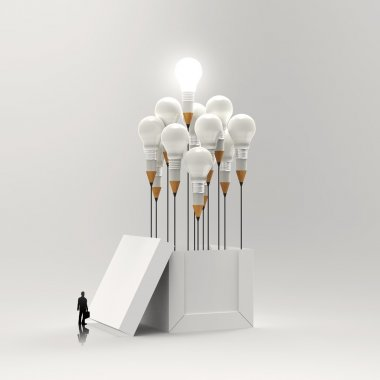 businessman looking at 3d pencil and light bulb concept outside