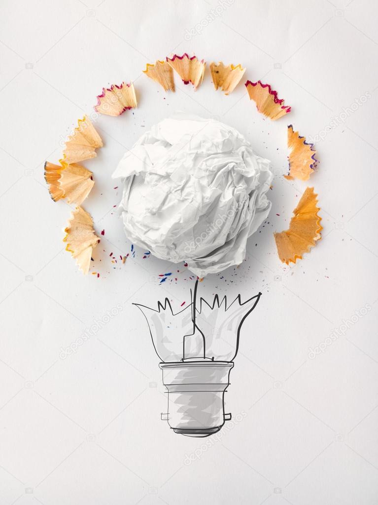 Hand Gezeichneten Glühbirne Und Zerknittertes Papier Mit