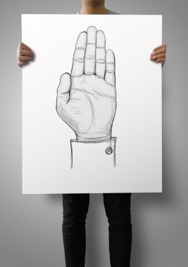 businessman show poster with drawing of Hand raised  as concept
