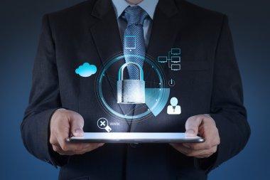 businessman hand show 3d world  with padlock as Internet securit