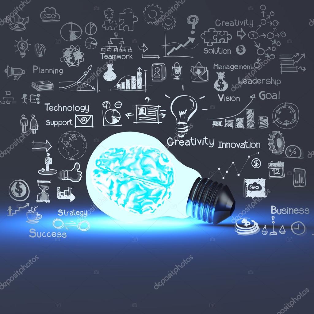 cerebro 3D meatal dentro de estrategia empresarial bombilla y dibujo ...