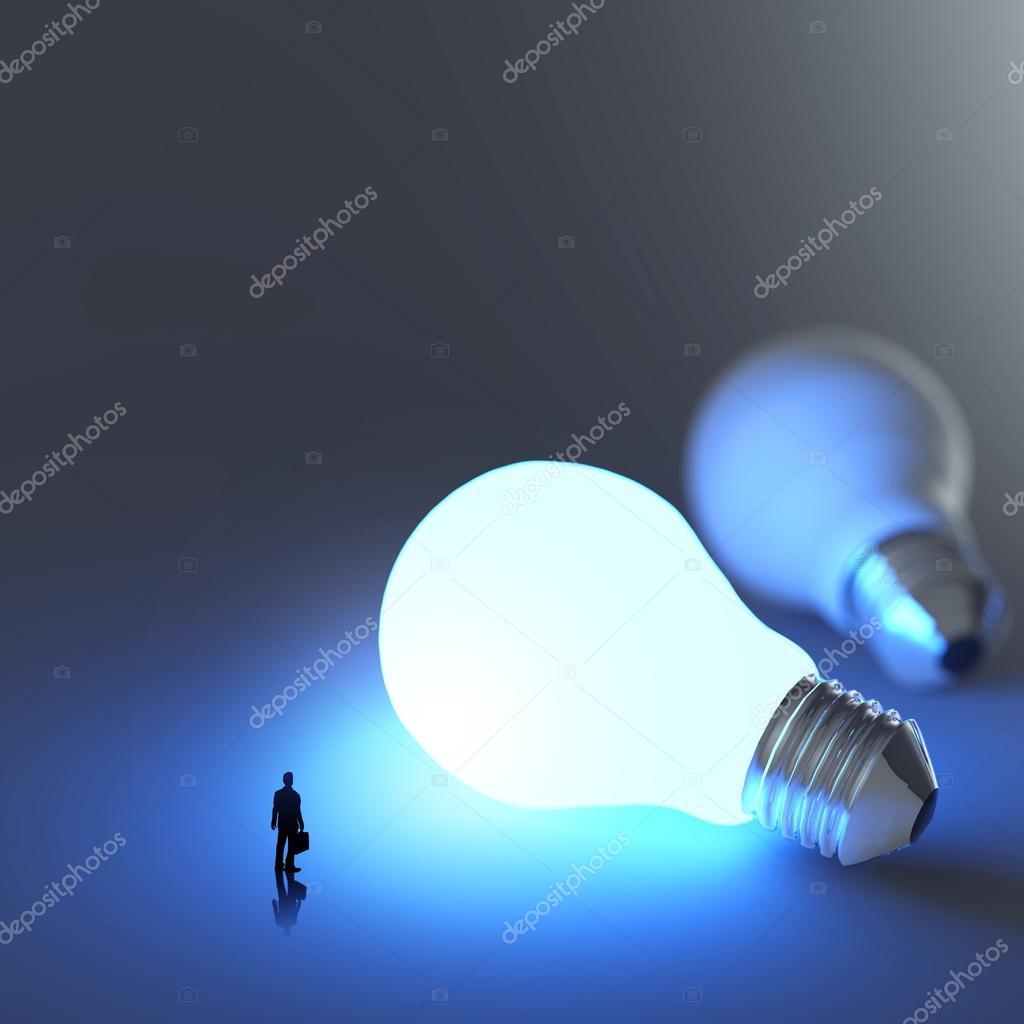 Businessman Walking To Growing Lightbulb 3d Idea Diagram As Suc Of Incandescent Light Bulb Stock Photo