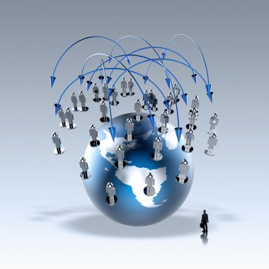 Businessman walking to social network human 3d on world globe as concept stock vector