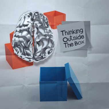 thinking outside the box on crumpled sticky note paper