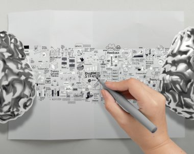 hand drawing metal brains 3d with business strategy icons as bra