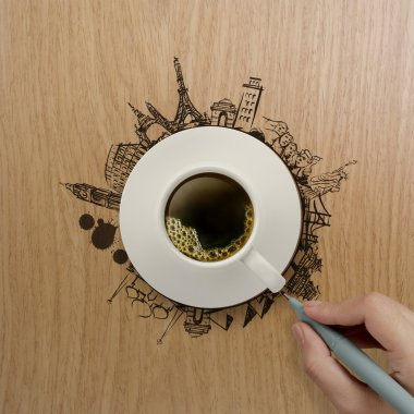 3d cup of coffee traveling around the world as concept