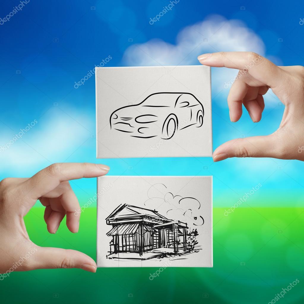 Hand Halten Hand Gezeichnete Haus Und Auto Auf Leinwand Brett Auf