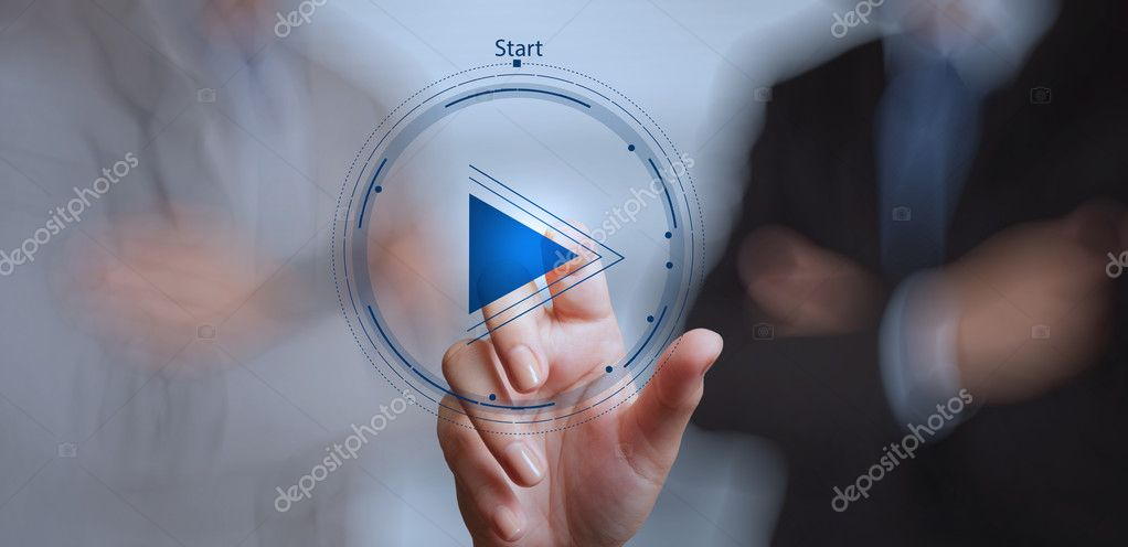 hand press play button sign to start or initiate projects as con