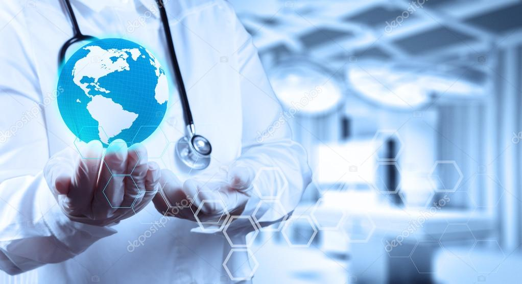 Medical Doctor holding a world globe in her hands as medical network concept stock vector
