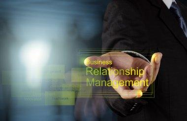 Businessman hand show business relationship management on the ne