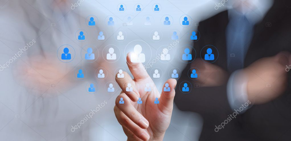 businessman hand choosing people icon as human resources concept