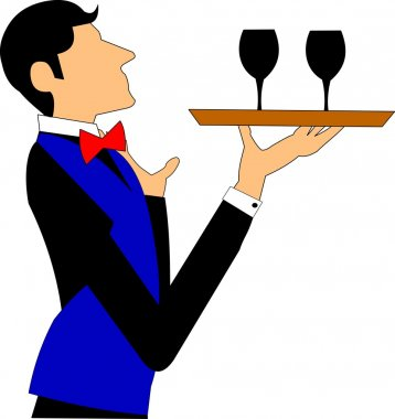 Waiter with tray and glasses