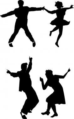 Retro teens dancing