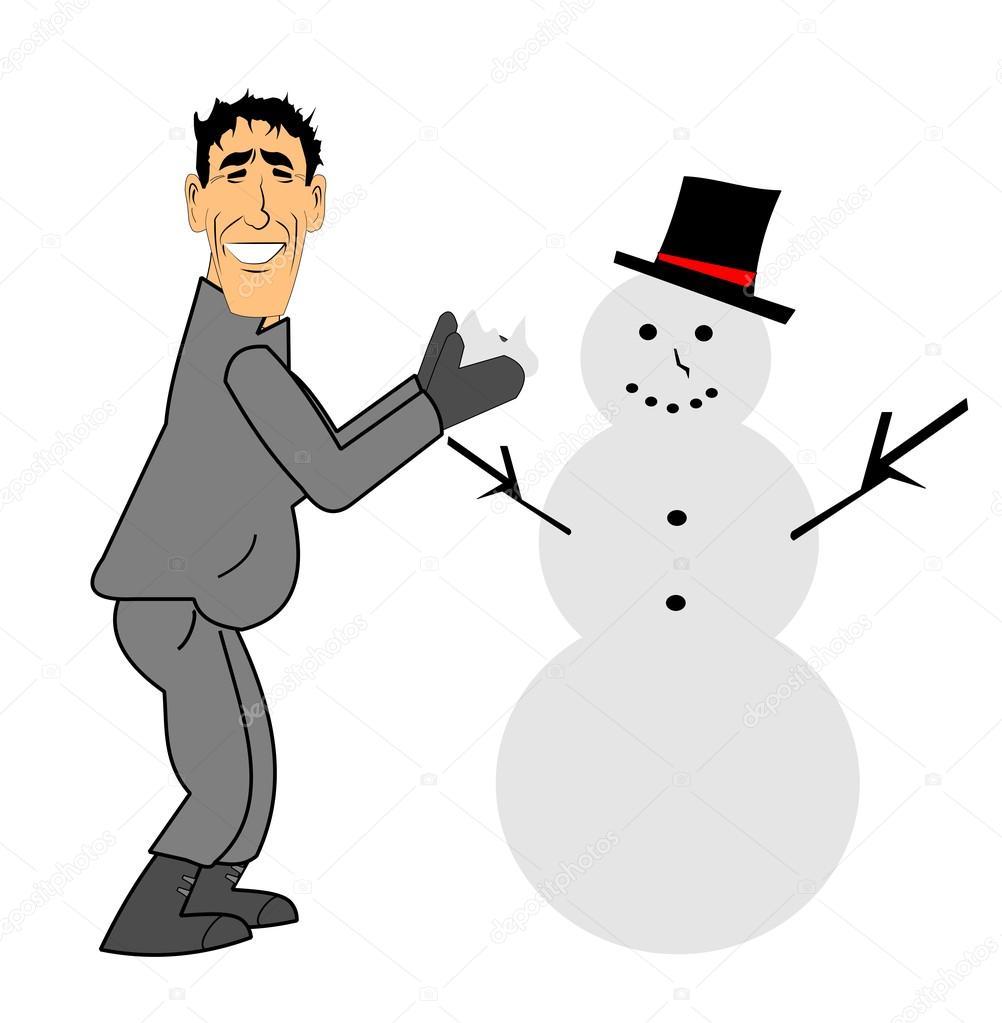 Man building snowman