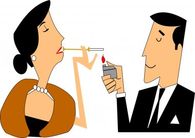 Man lighting a ladies cigarette