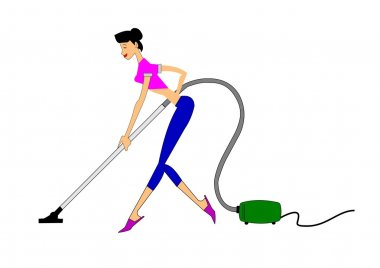 MOTHER CLEANING THE FLOORS