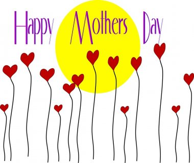 Bright sunny day for mothers day with flowers clip art vector