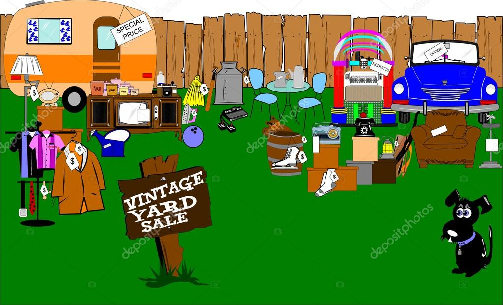 Vintage yard sale — Stock Vector © retroartist #26054169