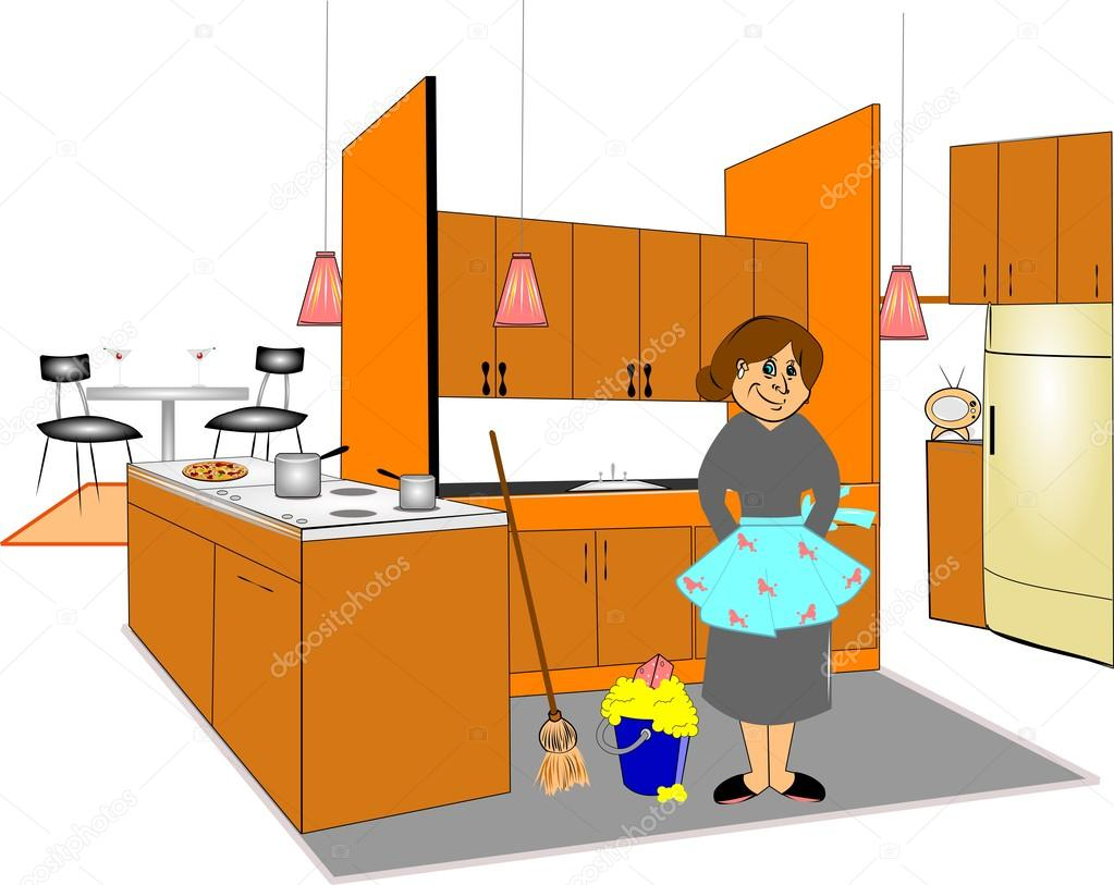 Cleaning The Kitchen Stock Vector C Retroartist 27748947