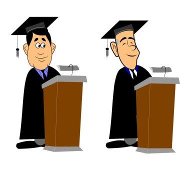 Grads at lectern