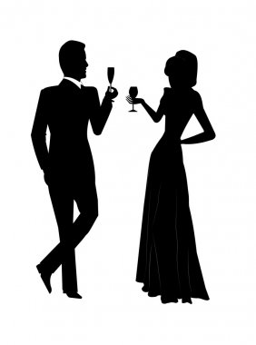 Holiday toast in silhouette