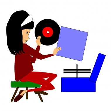 Young girl playing records and singing in her room