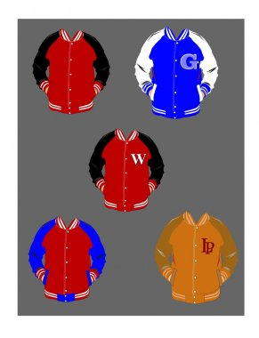 Varsity school jackets stock vector