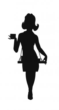 Cigarette girl in silhouette