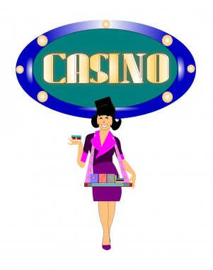 Casino girl selling cigarettes