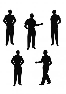 Males in silhouette posing